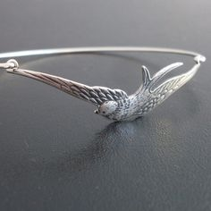 Silver Swallow Bracelet, Silver Jewelry, Nature Jewelry, Gift for Bird Lover, Stack Bangle, Swallow Bangle Bracelet, Silver Swallow Jewelry via Etsy