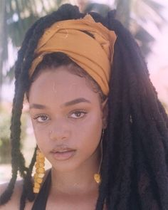 Head wrap with beautiful locs flowing Faux Locs Hairstyles, My Hairstyle, Hair Updo, Short Hairstyles, Wedding Hairstyles, Curly Hair Styles, Natural Hair Styles, Pelo Afro, Black Girl Aesthetic