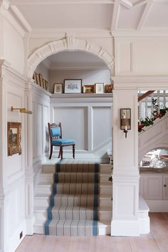 Stairs - An elegant redecoration of a house in Surrey by interior designer Emma Sims Hilditch, all in time for Christmas - real homes on HOUSE by House & Garden. English Cottage Interiors, English Interior, White Interiors, Victorian Manor, Stair Storage, Interior Stairs, Elegant Homes, My Dream Home, Interiores Design