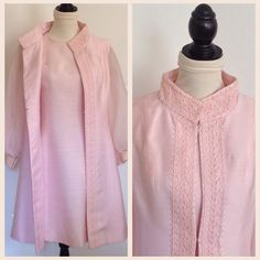 Classic 1960s pink silk shantung ensemble. Two piece set has an a-line dress with long, full chiffon sleeves trimmed at the cuff with pink
