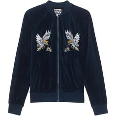 Pam&Gela Embroidered Track Jacket Teal // Velvet bomber jacket (€479) ❤ liked on Polyvore featuring outerwear, jackets, slim fit bomber jacket, bomber jacket, velvet bomber jacket, blue jackets and blouson jacket