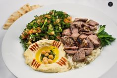 ~ Lamb Shawarma ~ (Plate includes Tabouli, Hummos, Rice & Pita). Pita Wrap, Lebanese Recipes, Shawarma, Vegetarian Options, Falafel, Hummus, Lamb, Grilling, Menu