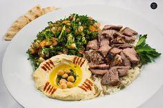 ~ Lamb Shawarma ~ (Plate includes Tabouli, Hummos, Rice & Pita). Pita Wrap, Lebanese Recipes, Shawarma, Vegetarian Options, Falafel, Hummus, Lamb, Grilling, Menu