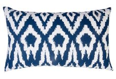Overscale Ikat 14x24 Cotton Pillow, Navy on OneKingsLane.com