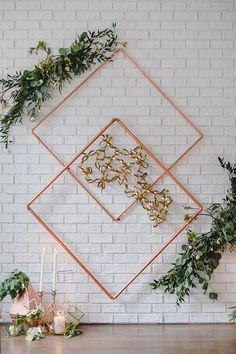 Geometric Wedding Inspiration with Vintage Touches Urban Wedding Inspiration for Jenny Buckland Hair and Make Up Wedding Backdrop Design, Wedding Ceremony Backdrop, Wedding Decorations, Wedding Wall, Vintage Wedding Theme, Diy Wedding, Wedding Ideas, Wedding Planning, Decoration Inspiration