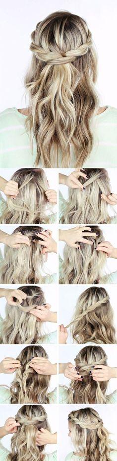 einfache frisuren mittellange, blonde, lockige haare, tolle flechtfrisur (Beauty Hairstyles Half Up)