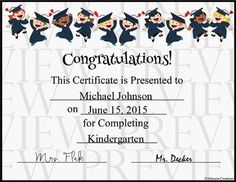 Recognize your preschool, kindergarten and elementary school graduates with this fun certificate. Adding text to your certificates on your PC is easy- directions are included.