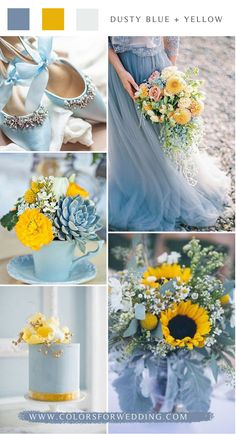dusty blue and yellow wedding color ideas flowers decoration yellow 10 Blue Wedding Color Palettes for Your Big Day Yellow Wedding Colors, Spring Wedding Colors, Wedding Color Schemes, Fall Wedding, Dream Wedding, Perfect Wedding, Spring Weddings, Spring Colors, Garden Weddings