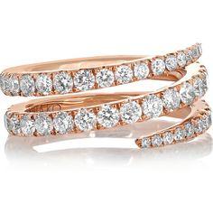 Anita Ko Coil 18-karat rose gold diamond pinky ring (137 165 ZAR) ❤ liked on Polyvore featuring jewelry, rings, rose gold, red gold ring, diamond rings, pinky ring, pave diamond ring and diamond pinky rings