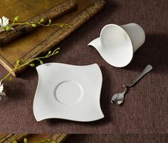 SSBY Phnom Penh, wave-shaped, high bone content of bone China Coffee Cup Saucer spoon 45% -- Awesome products selected by Anna Churchill