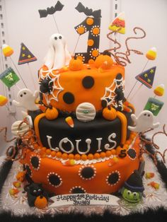 this was for a first birthday halloween themed party all fondant and edible the