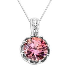 """Royale Sterling Silver Pink and White Round with Swarovski Zirconia Pendant Necklace, 18"""" Amazon Curated Collection. $59.00. Made in Thailand"""