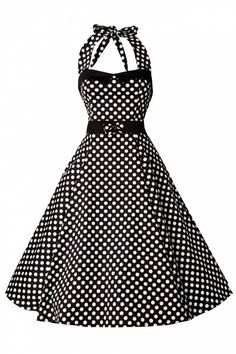 Collectif Clothing - 50s Stella Sweetheart Doll White Polka Dot swing dress