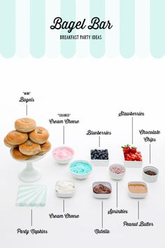 A birthday party idea that incorporates a healthier sweets bar. Try this bagel bar filled with festive toppings perfect for a kid's party or a brunch get together. Fun Party Themes, Party Ideas, Bagel Bar, Breakfast Bagel, Snacks Für Party, 21 Party, Baby Shower Brunch, Birthday Brunch, Before Wedding