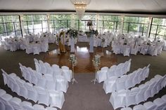 Our Crystal Garden decorated for a split Wedding/Reception   LOVE the chair setup!