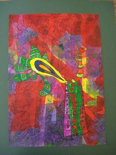 Mixed Media Bird- Kindergarten Art Assignment