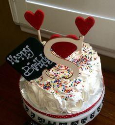 Rosette Heart Themed Happy Birthday Cake