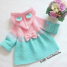 Free Crochet Pattern - Pink Single Crochet Baby Sweater - Her Crochet Crochet Baby Sweaters, Crochet Hoodie, Crochet Coat, Knitted Baby Clothes, Crochet Clothes, Crochet Baby Dress Free Pattern, Baby Sweater Patterns, Baby Girl Crochet, Baby Knitting Patterns