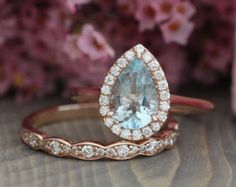 Bridal Set Vintage Floral Champagne Peach Sapphire by LaMoreDesign