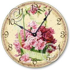 Vintage Victorian Pink Rose Clock