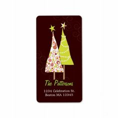 Retro Funky Christmas Trees Address Labels  Click on photo to purchase. Check out all current coupon offers and save! http://www.zazzle.com/coupons?rf=238785193994622463&tc=pin