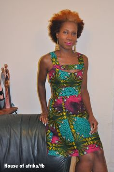 Short cut out A line dress in green yellow and by HouseofAfrika