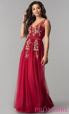 ca5df03d6ad Floral-Embroidered Deep V-Neck Long Tulle Prom Dress. Prom Dresses Under  100Red Wedding ...