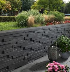 Basalo layer wall in basalt gray - Garden Design Ideas Garden Retaining Wall, Landscaping Retaining Walls, Front Yard Landscaping, Landscape Architecture, Landscape Design, Garden Design, Walled Garden, Garden Styles, Outdoor Gardens