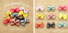 Adorbable hair clips made from painted bowtie pasta (hot glue the clip to the back of the bowtie) - Genius!