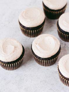 Chocolate Stout Cupcakes with Irish Whiskey Ganache + Irish Cream Frosting