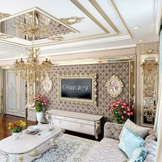 I would LOVE this lux living room! Glamour Living Room, Beige Living Rooms, Home Living Room, Living Room Decor, Home Ceiling, Ceiling Decor, Ceiling Design, Luxury Dining Room, Dining Room Design