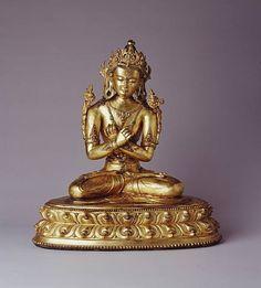 "Gilt copper alloy figure of Vajradhara Buddha, 15th Century, 18.1"" high"