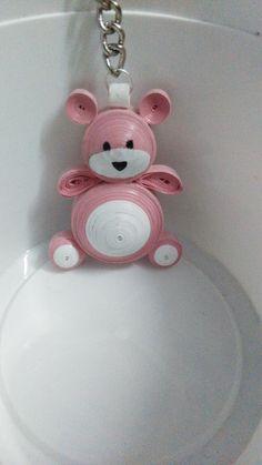 Quilled pink bear keychain