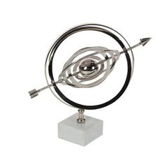 Astounding Armilary Sphere With A Crossed Arrow, Silver