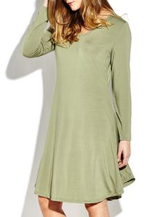 Casual O-Neck Long Sleeve Solid Irregular Loose Women Long Dresses