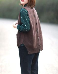 Harajuku, Mori Girl, Knit Vest, Crochet Cardigan, Hippie Boho, Jersey Retro, Vest Pattern, Blouse Outfit, Fur Fashion