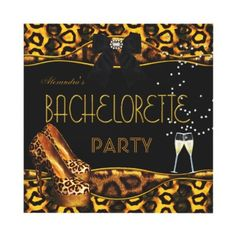 Bachelorette Party Gold Black Stiletto Leopard Shoes High Heels Champagne Invitation All Occasions Party Bachelorette Party Womens Girls Night Out Hens