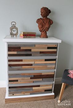 Cover it with multicolored wooden shims | 99 Clever Ways To Transform A Boring Dresser