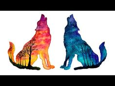 Day & Night Wolves Double Exposure Speed Painting [Watercolor & Gouache] YouTube Wolf painting Cute drawings Creature art