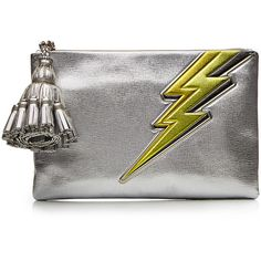 Anya Hindmarch Georgiana Lightning Bolt Leather Clutch ($955) ❤ liked on Polyvore featuring bags, handbags, clutches, silver, anya hindmarch, zipper purse, zipper handbag, real leather purses and real leather handbags