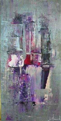 Toile moderne colorée Peinture acrylique Huile - argenté - violet : Peintures par stephanie-menard