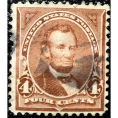 United States Postage, Lincoln, 4 Cents, brown, 1895 First Bureau, used