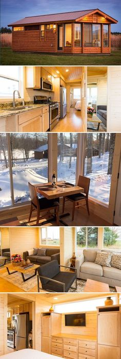 From Escape Traveler is this 300 sq.ft. park model tiny house, Getaway. The house has an option for an open deck, screened porch, or four-seasons sunroom.