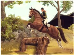 Jumping over a log fence in xcountry phase of Eventing show. My favorite sim horse (Automne du Tussock, SF)