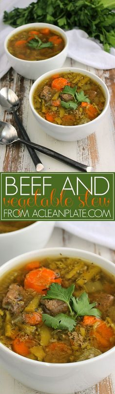 Slow-cooker Beef and Vegetable Stew recipe from A Clean Plate