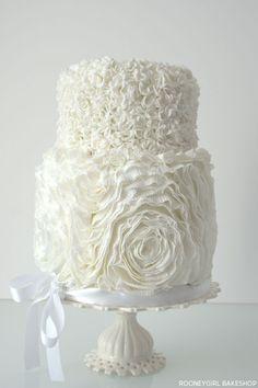 White on White Ruffles by RooneyGirl BakeShop  |  TheCakeBlog.com