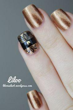 Gold & Black Detail Nail Design