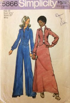 1970s boho fitted jacket flares and maxi skirt Simplicity 5866 vintage sewing pattern Bust 32.5 Waist 25 Hip 34.5 Retro 70s disco Mad Men by 101VintagePatterns on Etsy