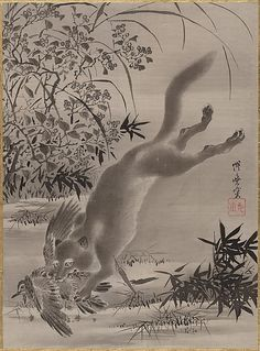 Fox Catching Bird by Kawanabe Kyōsai
