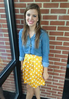 #chambray #polkadots #yellow #separates #casualchic
